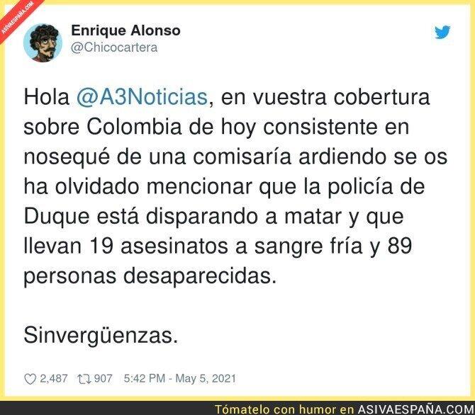 742097 - Antena 3 cubriéndose de gloria con Colombia