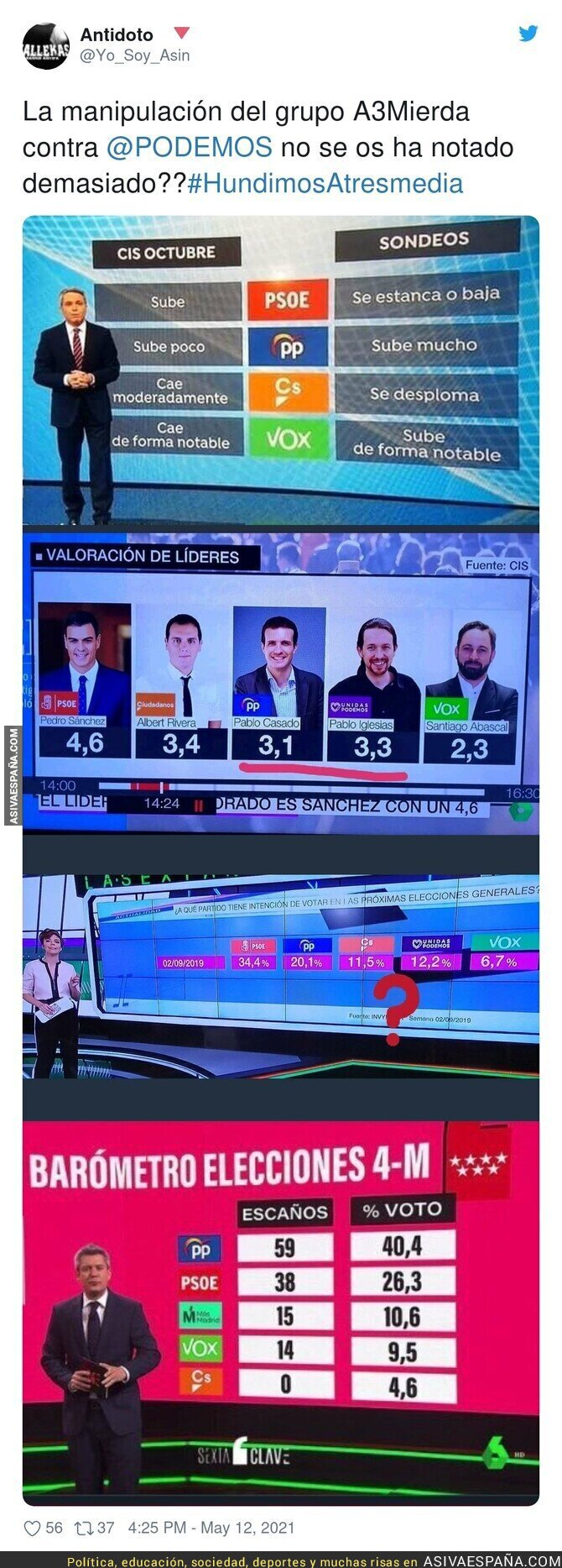 754349 - Todo Atresmedia contra Podemos sin disimular