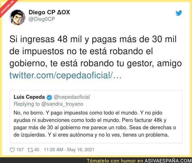 760789 - Luis Cepeda se entera por Twitter que su gestor le está robando dinero y termina borrando el tuit
