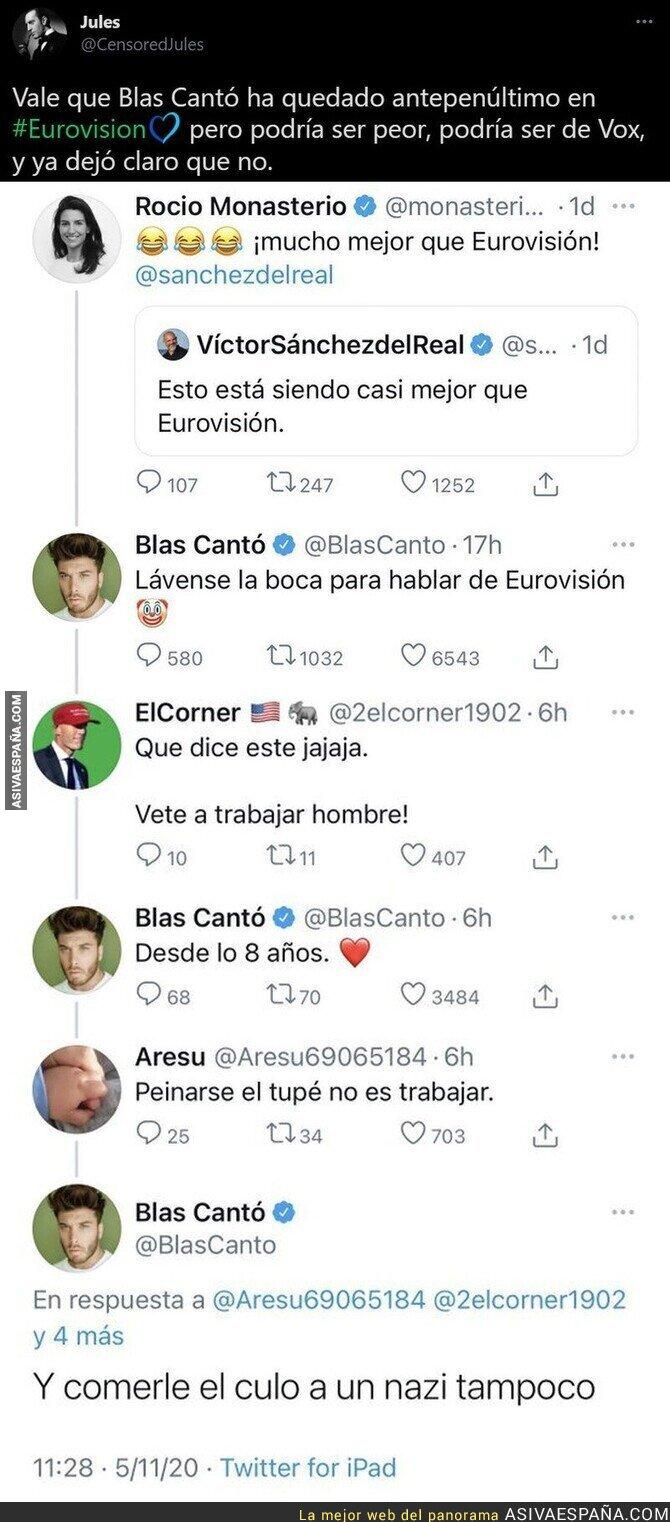 771719 - Este es el momento exacto en el que Blas Cantó se ganó el aplauso de gran parte de España al dejar retratada a VOX