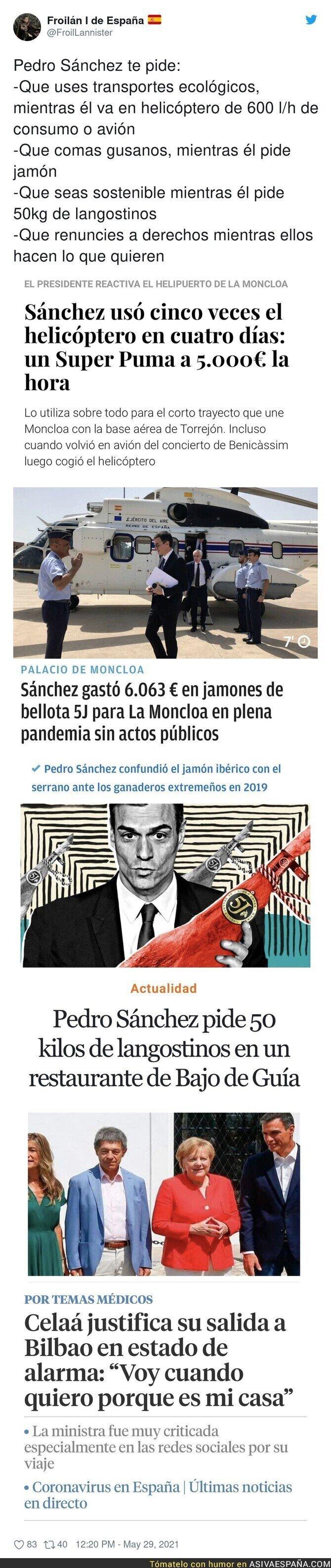779900 - Lo que pide a los Pedro Sánchez y lo que hace él mismo...
