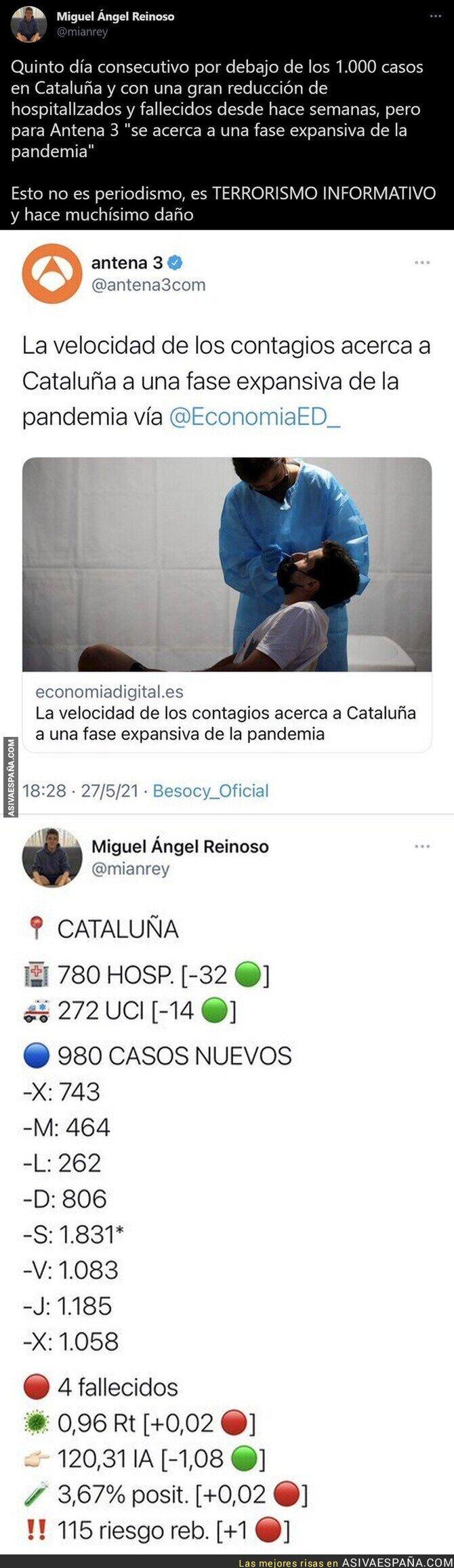 781070 - Así alarma Antena 3 innecesariamente sobre la pandemia en Catalunya