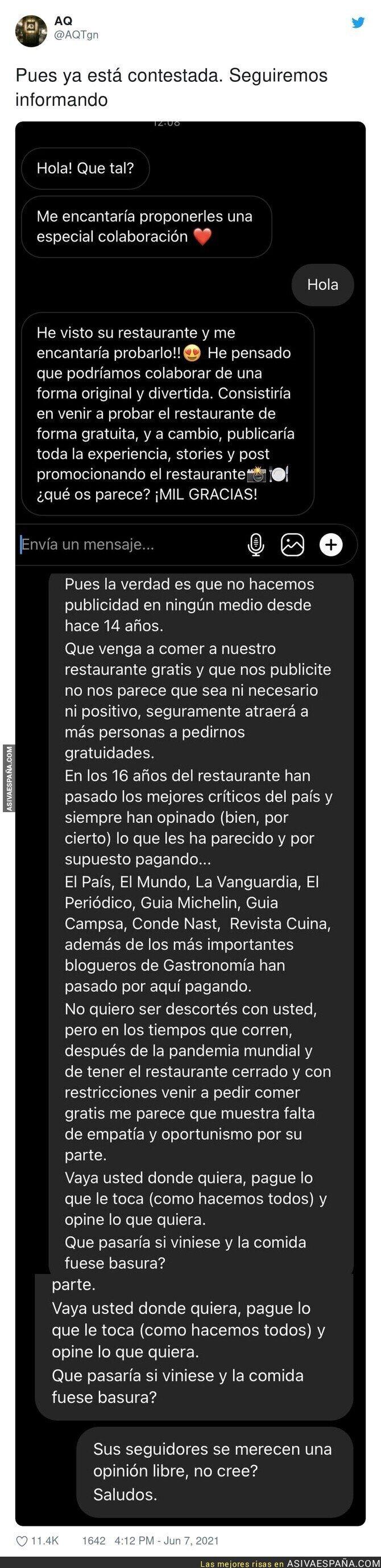 791861 - La cara más dura de este periodista tratando de ir a un restaurante de gratis a cambio de publicitarlo en su medio y la gran respuesta del dueño
