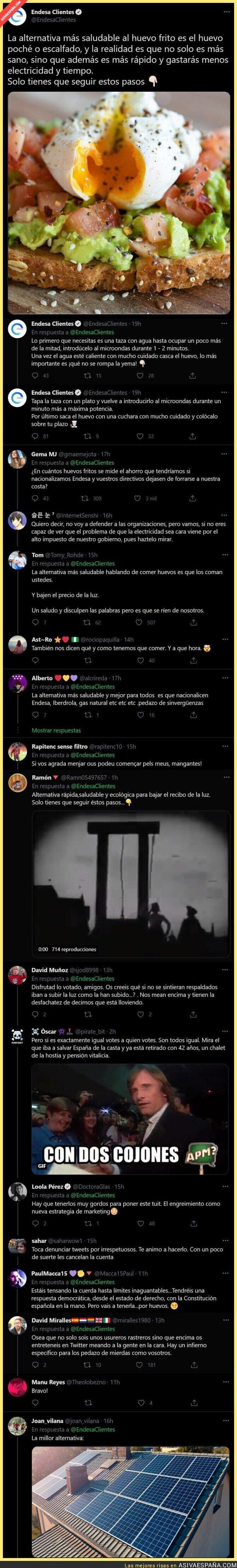 793076 - 'Endesa' se ríe de todos los españoles con este miserable tuit en plena subida de la luz en todo el país