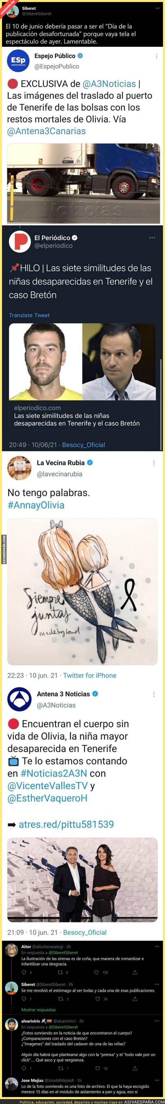 794425 - Basura absoluta: Así es como Antena 3 y otros han informado sobre la aparición de Olivia en Tenerife