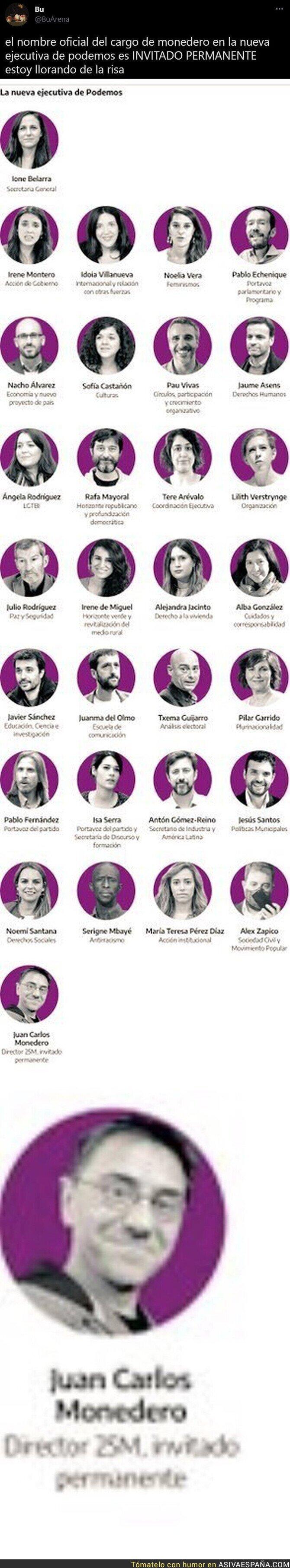 805601 - Atención al nombre del cargo que tiene Juan Carlos Monedero en Podemos