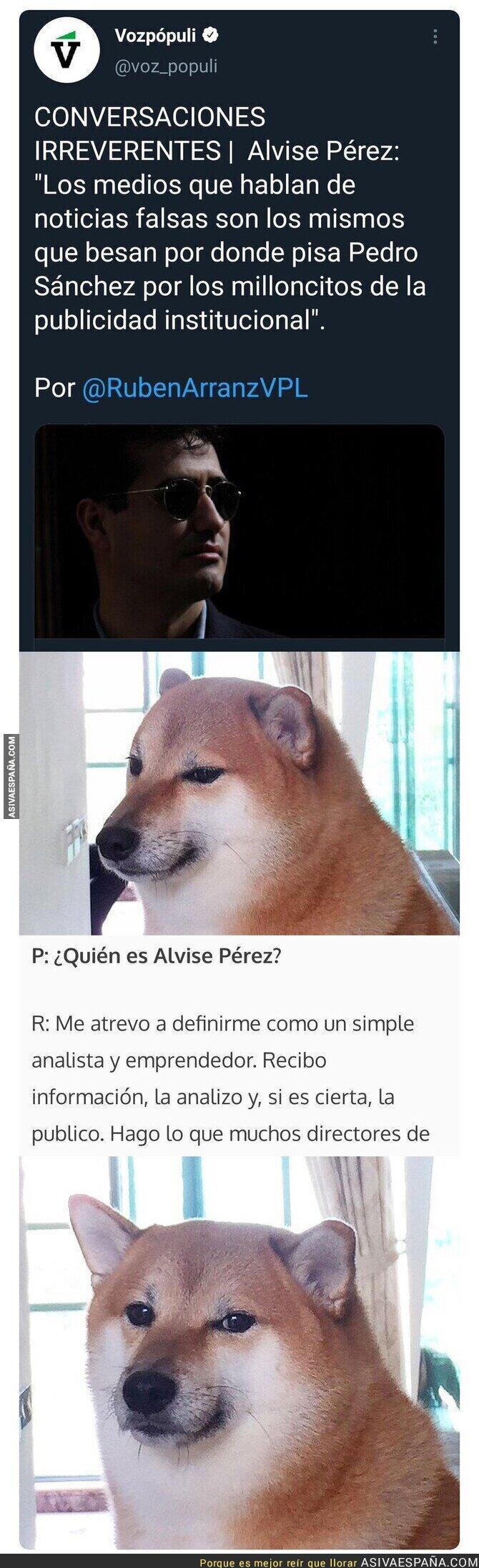 806102 - Entrevistan a Alvise Pérez, el mayor difusor de bulos de internet y su respuesta cuando le preguntan quién es, es surrealista