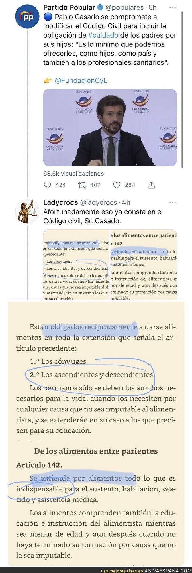 807849 - Pablo Casado se compromete a cambiar el Código Civil para incluir una medida que ya existe