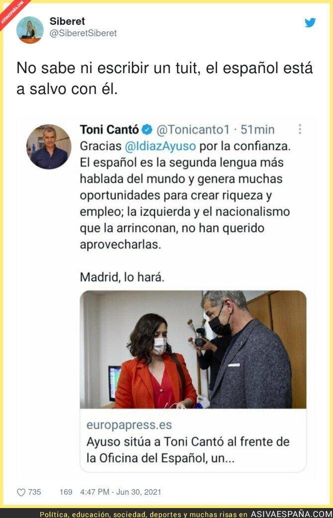817244 - Toni Cantó va a salvar el español, segunda lengua más hablada del mundo, que está en peligro