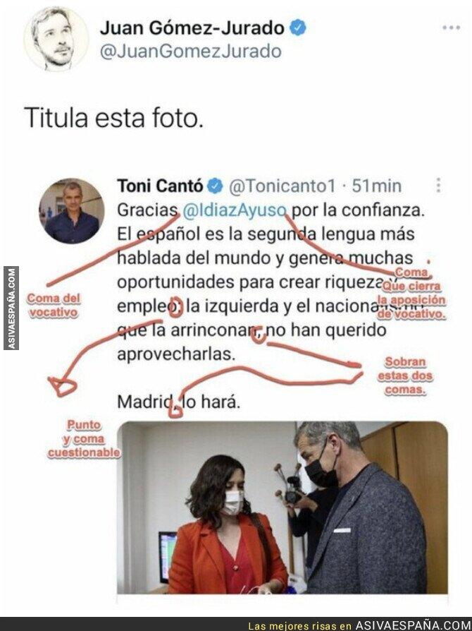 817941 - El escritor Juan Gómez-Jurado deja por los suelos a Toni Cantó por este tuit lleno de faltas