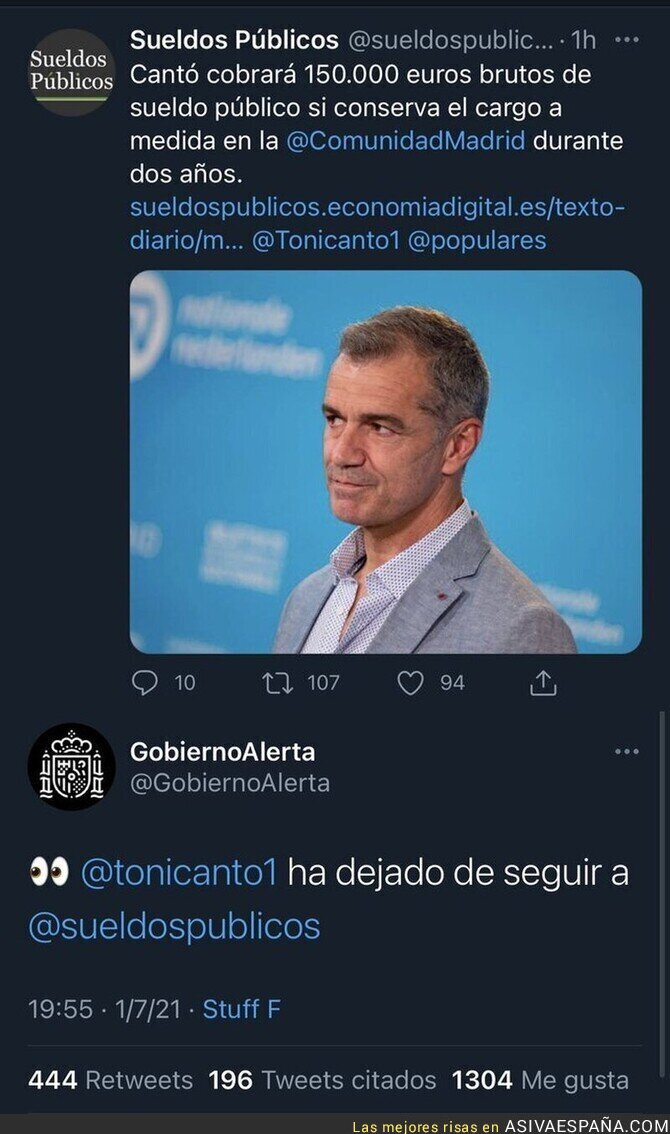 818773 - Toni Cantó se enfada y deja de seguir a esta cuenta de Twitter tras descubrir el sueldo público que va a cobrar
