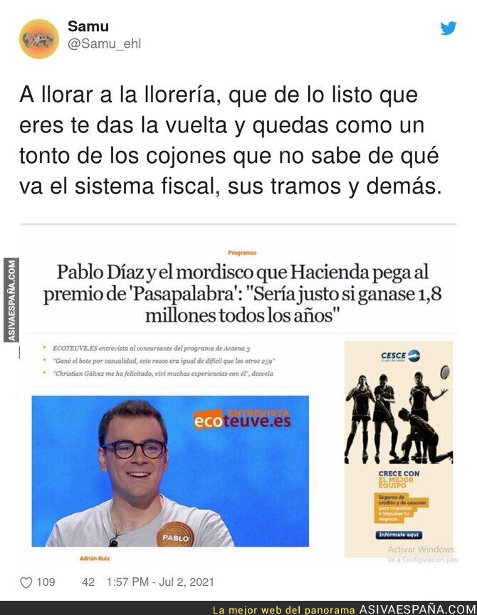 819594 - Lamentable estas declaraciones de Pablo Díaz sobre los millones que debe pagar a Hacienda