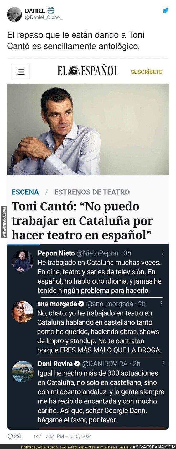 820916 - Todo el sector cultural está contra Toni Cantó por decir que hay problemas para trabajar en Catalunya si hablas en Español