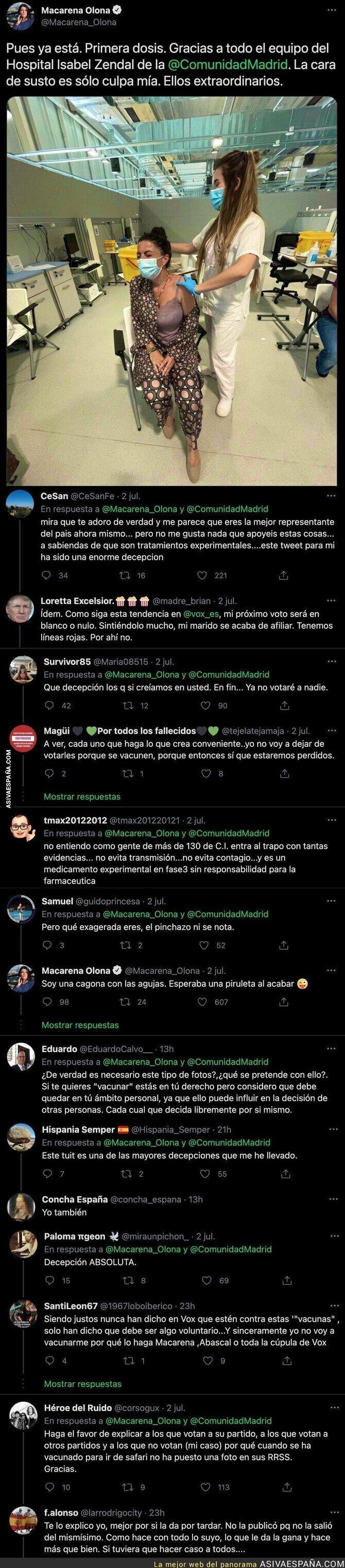 820930 - Macarena Olona (VOX) anuncia con este tuit que se ha vacunado y todos sus votantes están cargando duramente contra ella con estos mensajes
