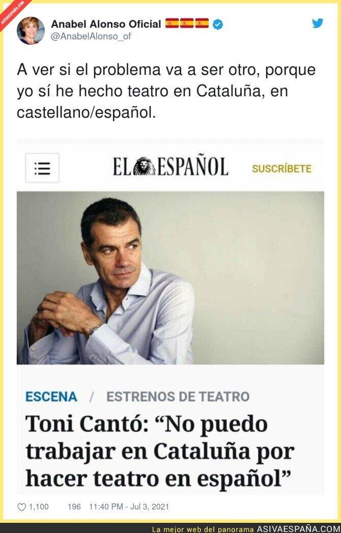 821083 - Anabel Alonso también tiene para Toni Cantó por decir que no puede trabajar en Cataluña en español