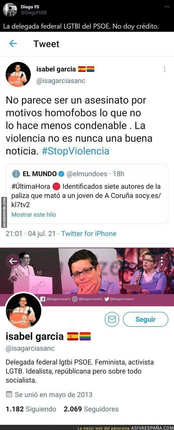822993 - El lamentable mensaje sobre el asesinato de Samuel de la delegada LGTBI del PSOE que ha tenido que borrar