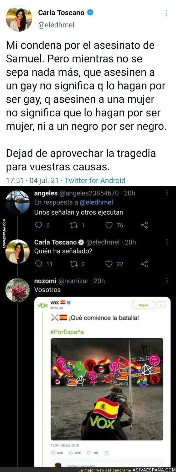 823326 - Este usuario de Twitter le dice una gran verdad a Carla Toscano (VOX) sobre el asesinato de Samuel