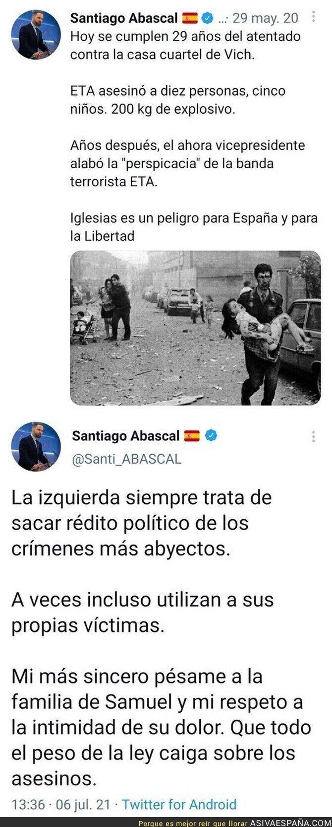 825284 - Así es la doble cara de Santiago Abascal y su doble rasero a la hora de hablar sobre asesinatos
