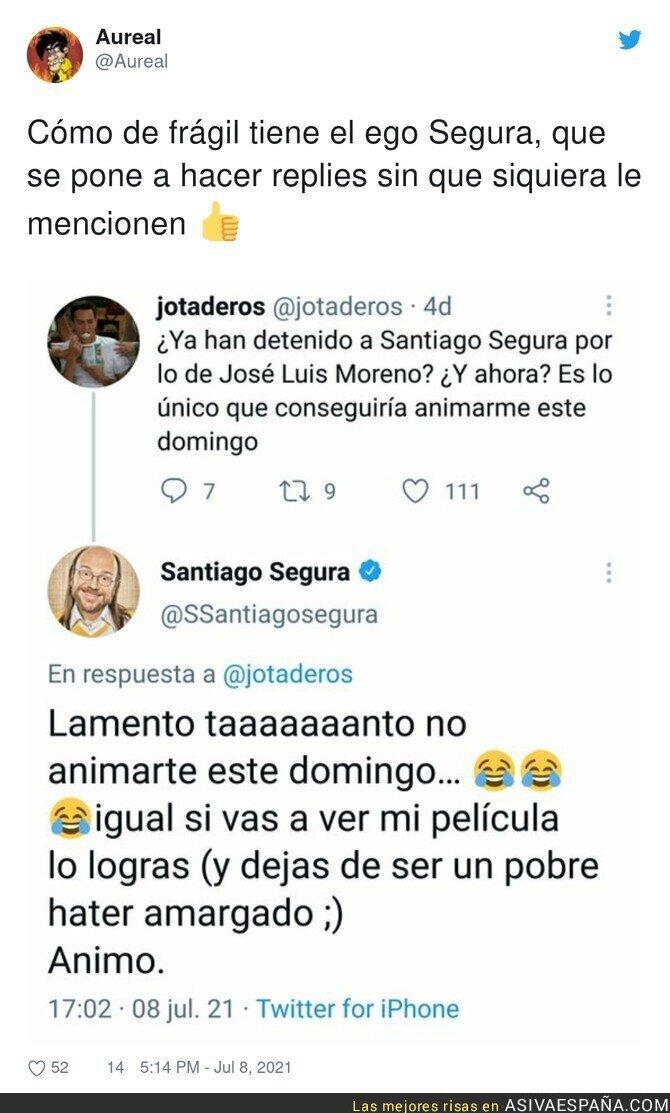 828443 - La respuesta de Santiago Segura a un 'hater' que ni le mencionaba en Twitter
