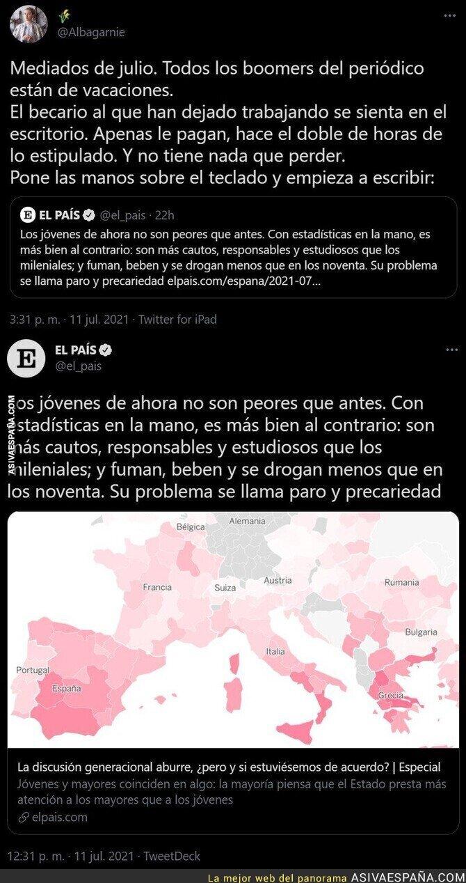 831890 - Aplausos infinitos por lo que ha escrito el becario de 'El País'