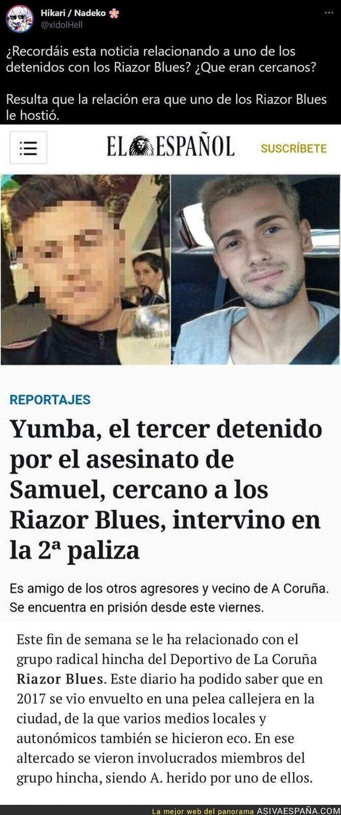 833859 - Así ha manipulado 'El Español' con el supuesto asesino de Samuel relacionándolo con los 'Riazor Blues'