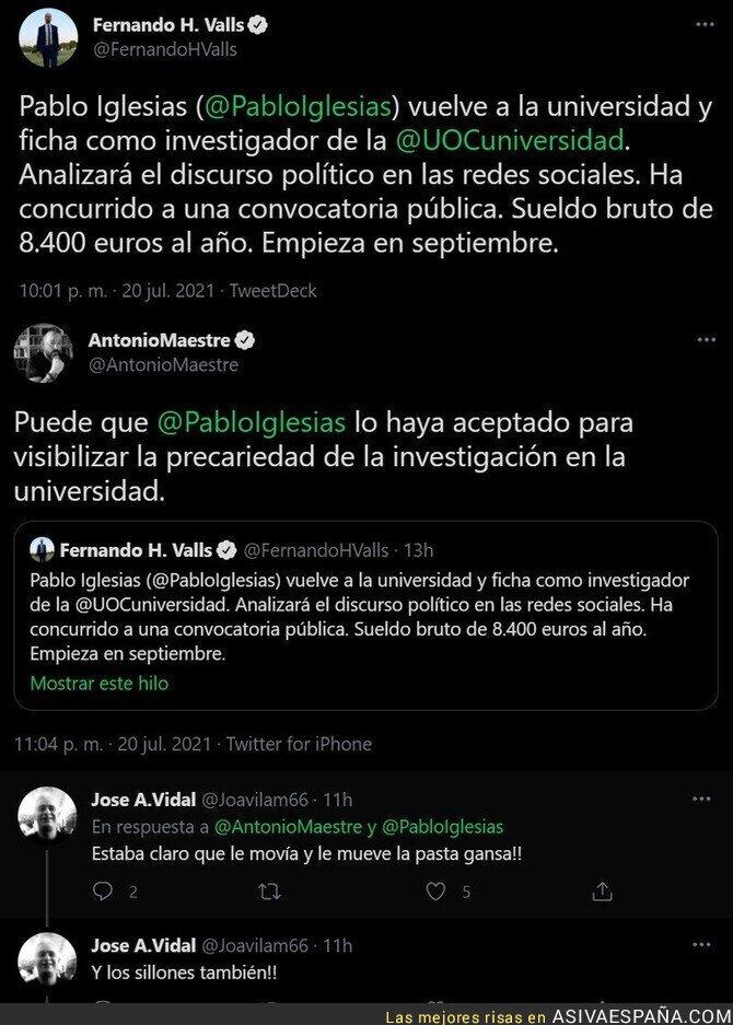 844006 - Pablo Iglesias ficha por una universidad por 8.400€ al año