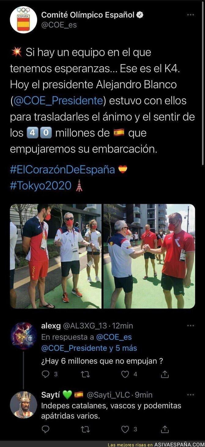 853663 - El 'Comité Olímpico Español' dice que hay 40 millones de españoles empujando para animar y no tarda en salir un votante de VOX en responder