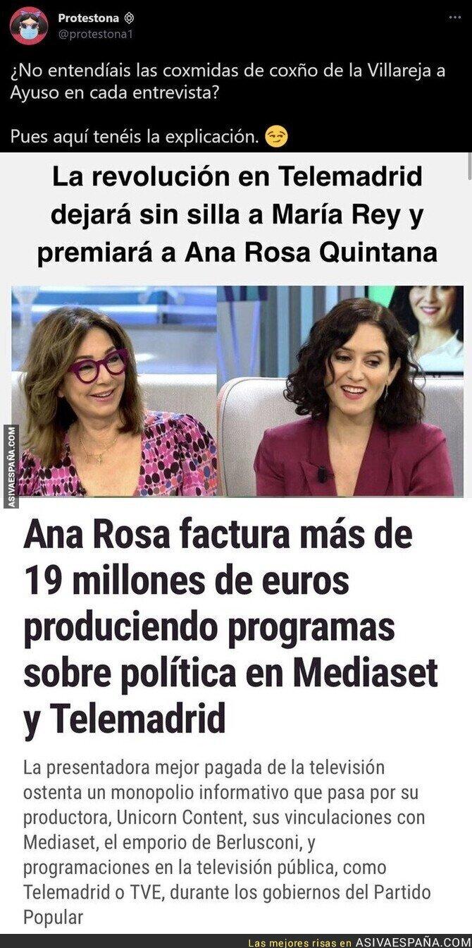 853991 - Ana Rosa Quintana sale ganando tras hacerle la pelota a Isabel Díaz Ayuso