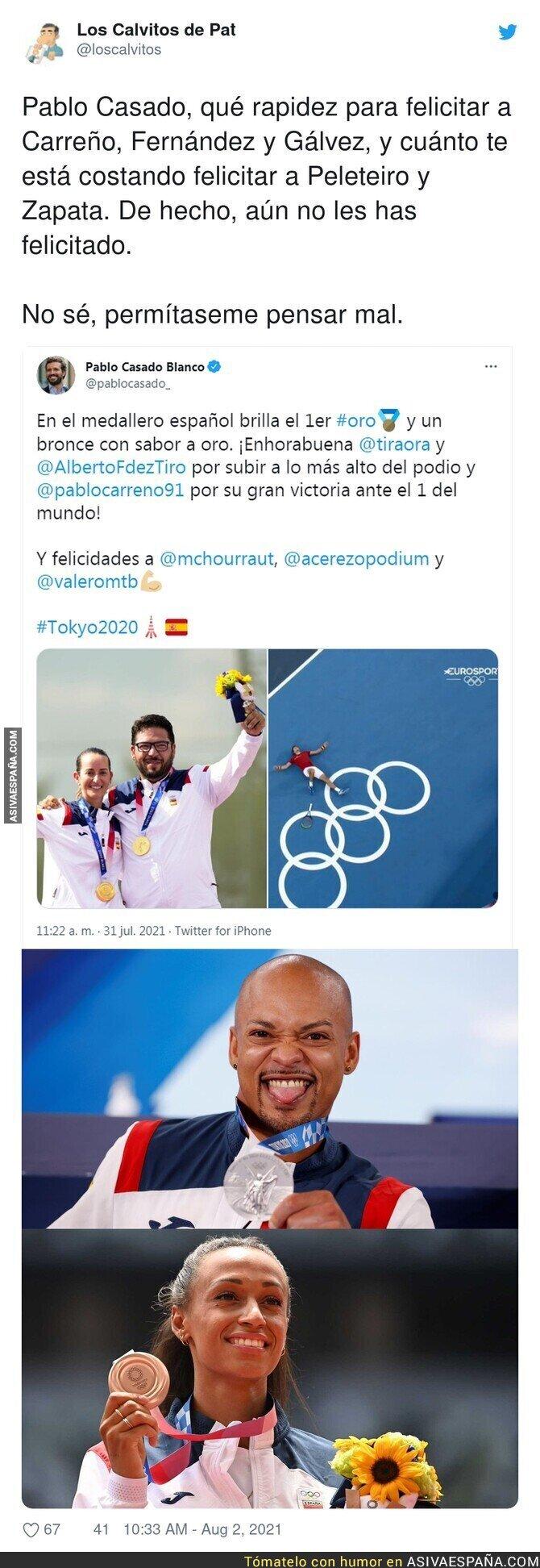 859138 - Pablo Casado no sabe felicitar a según que deportistas españoles
