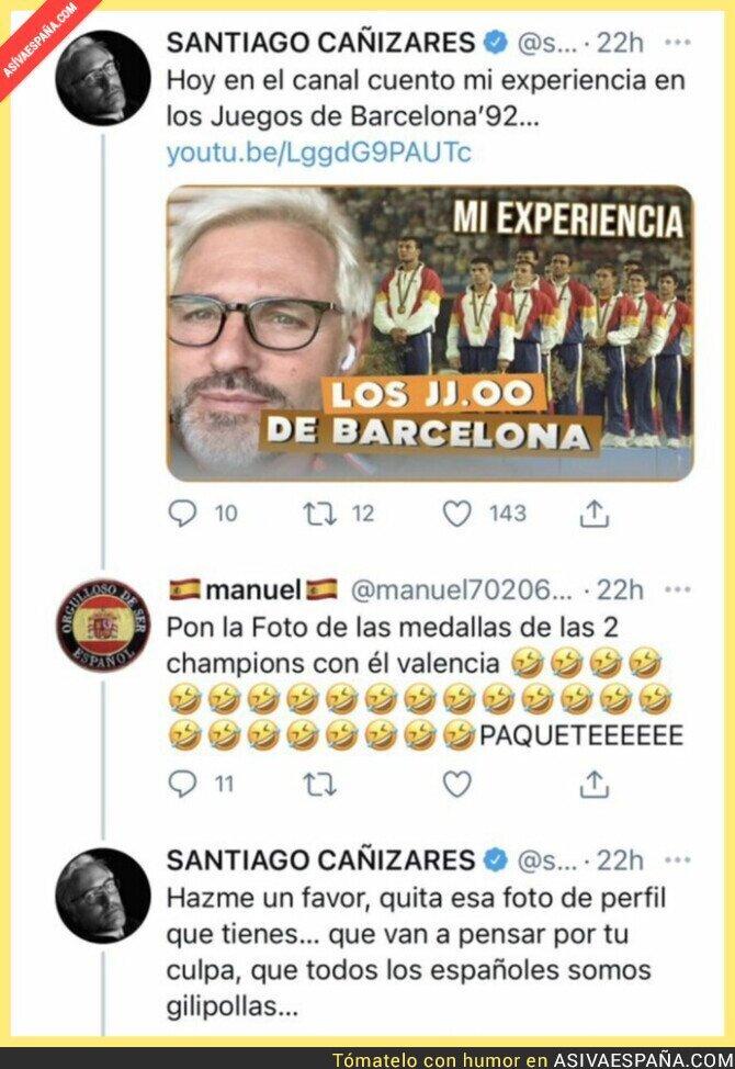 859806 - Cañizares le acaba de pegar un revés monumental a este típico patriota español por ir de gracioso