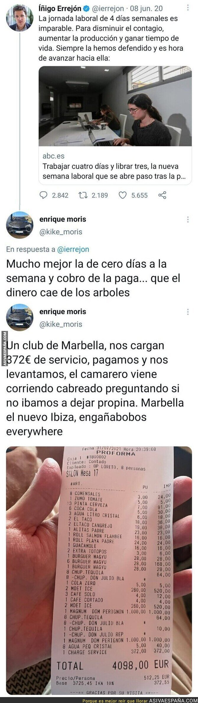 860082 - La persona que subió un ticket de 4000€ de un bar de Marbella tiene un tuit del pasado que le ha dejado totalmente retratado