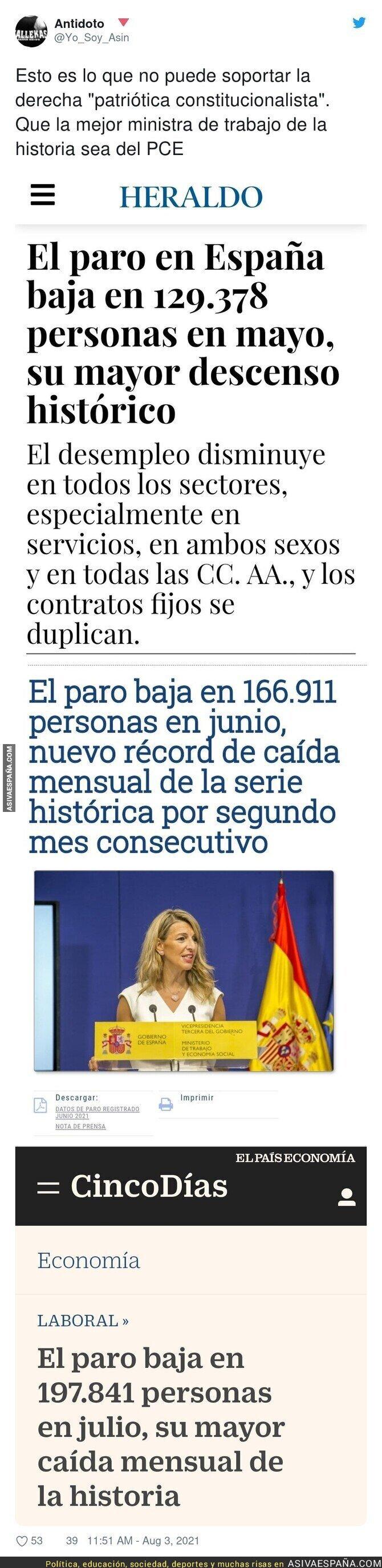 860513 - Grandísimo trabajo el de Yolanda Díaz al frente del Ministerio de Trabajo