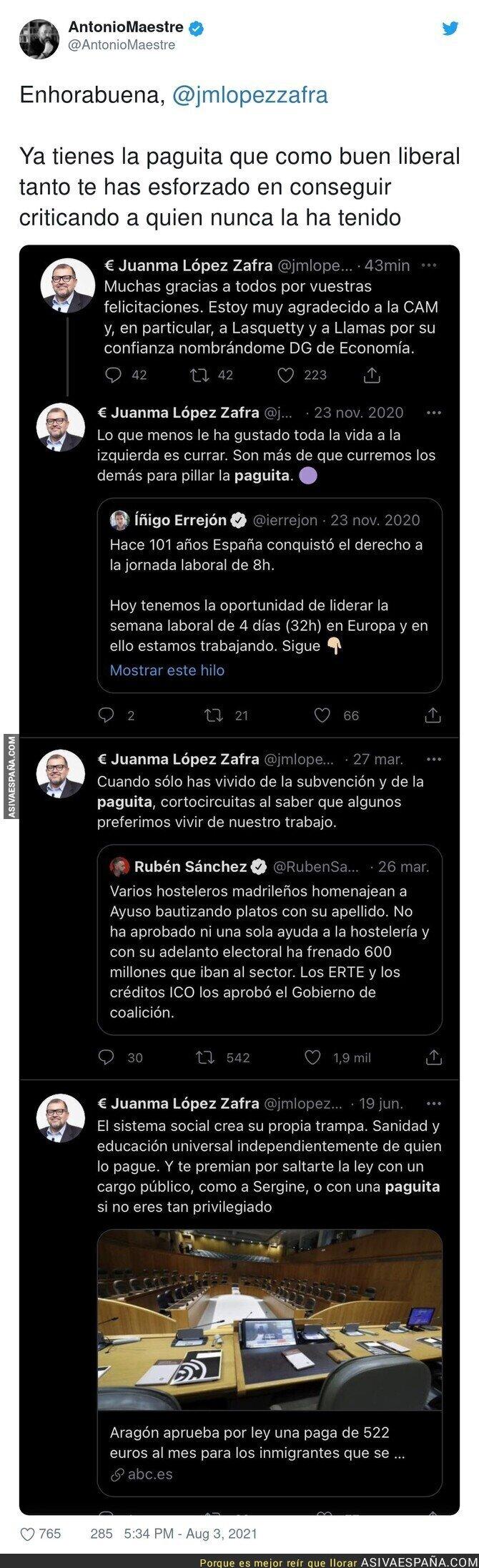 860768 - Juanma López Zafra ya forma parte de lo que lleva criticando tantos meses atrás en estos tuits