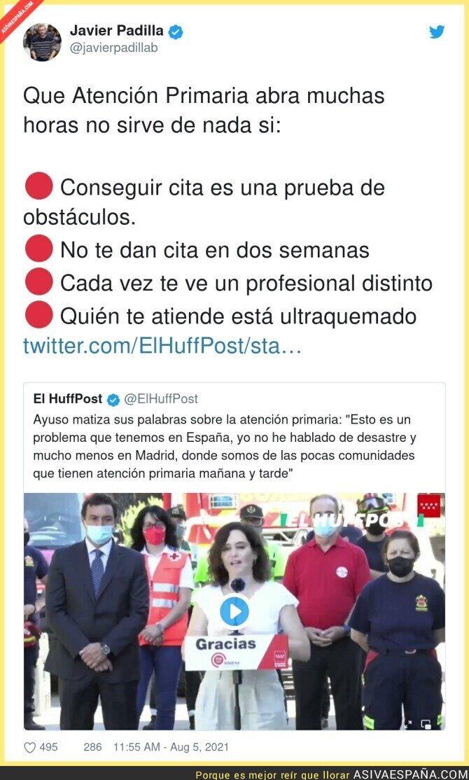 864003 - Isabel Díaz Ayuso sigue mintiendo sobre la Atención Primaria en Madrid