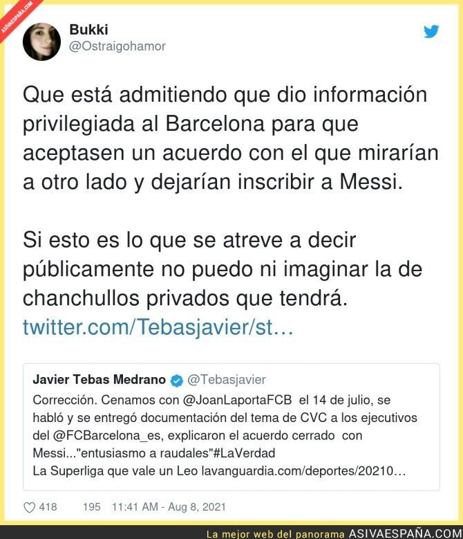 866300 - Javier Tebas se delata a si mismo un caso de chantaje al presidente Laporta