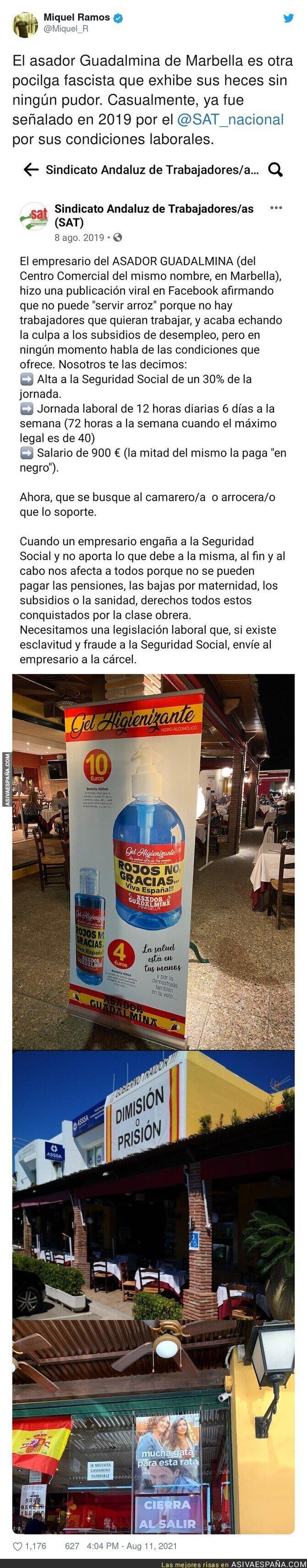 869748 - Los repugnantes carteles que puedes encontrar en este local de Marbella y las condiciones en las que trabajan sus trabajadores
