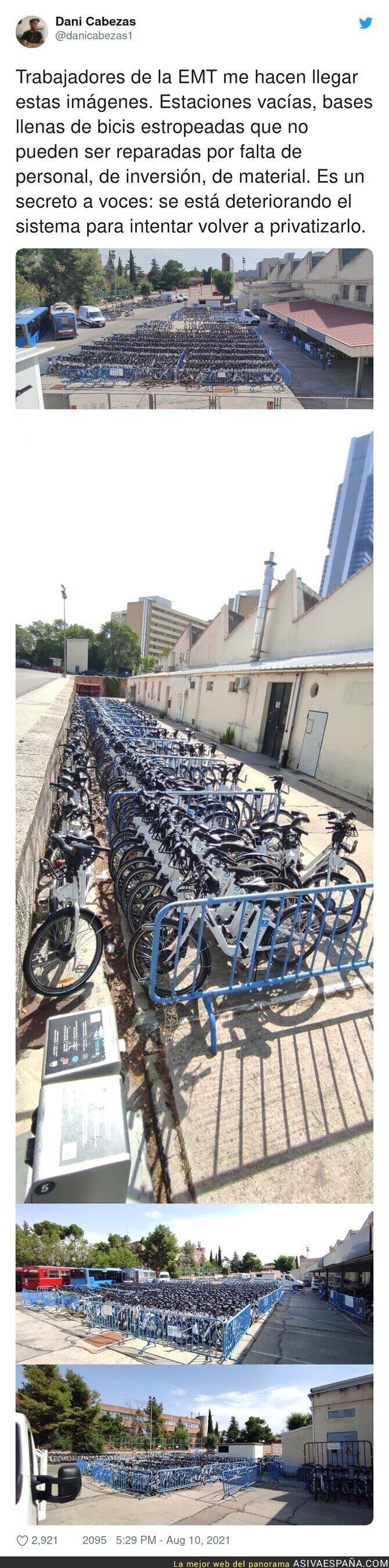 871345 - Las imágenes de las bicicletas de Madrid agolpadas en un almacén en la calle