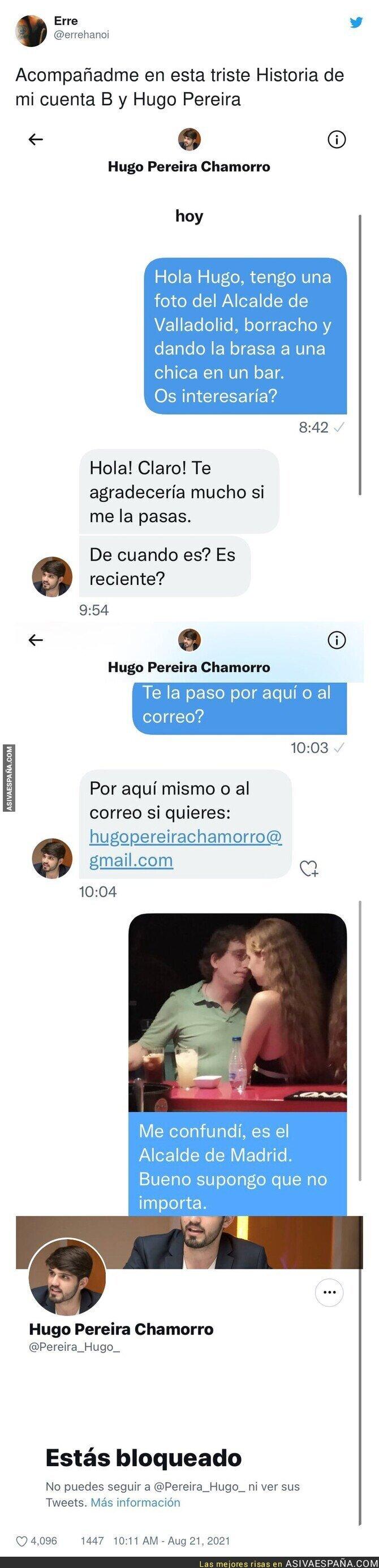 881248 - Así han troleado a Hugo Pereira mandándole la foto de José Luis Martínez Almeida intentando ligar con una jovencita en un bar