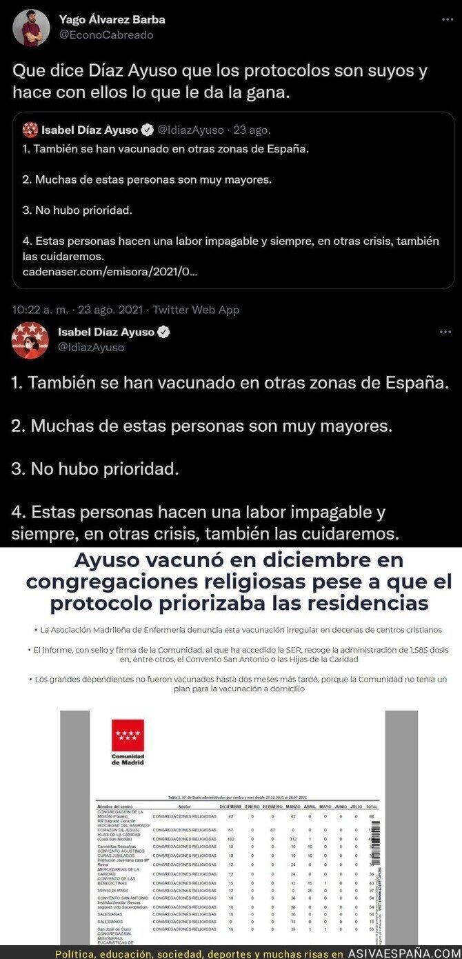 883203 - Así defiende Isabel Díaz Ayuso que vacunó congregaciones religiosas antes que a las residencias