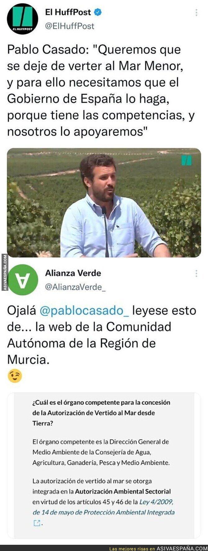 884026 - Pablo Casado pide a Pedro Sánchez que haga algo con el Mar Menor pero se nota que no sabe mucho de política por este gran detalle