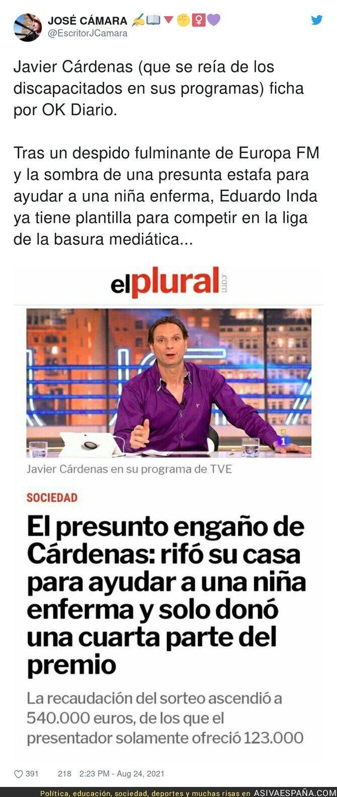 884244 - Este es el historial de Javier Cárdenas, el último y polémico fichaje de Eduardo Inda para Okdiario