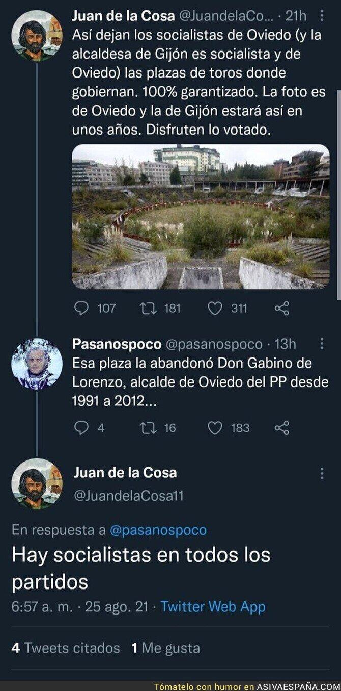 884973 - Acusa a los socialistas de dejar así la plaza de toros de Oviedo y lo que responde más tarde te hará explotar la cabeza