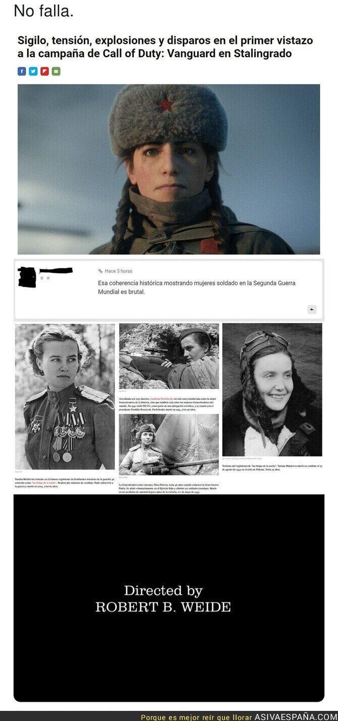 886370 - La ignorancia de no conocer eque en la Guerra había mujeres...