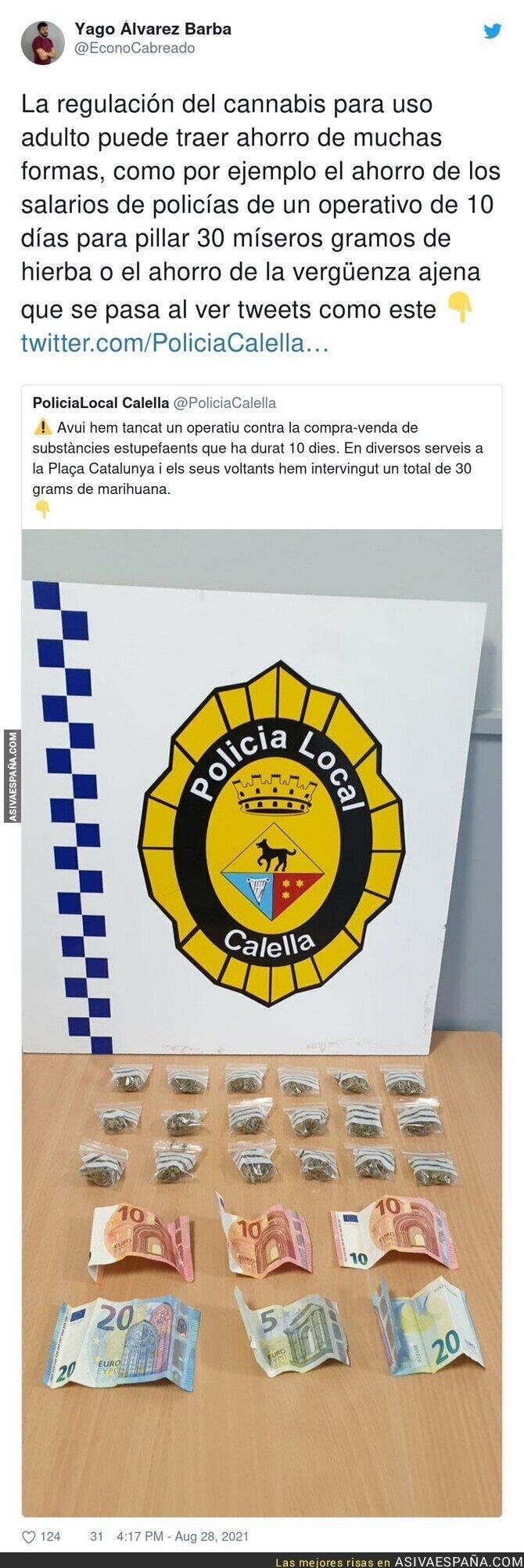 888659 - La Policía de Calella da toda la vergüenza del mundo al enseñar su incautación de marihuana y estos pocos billetes