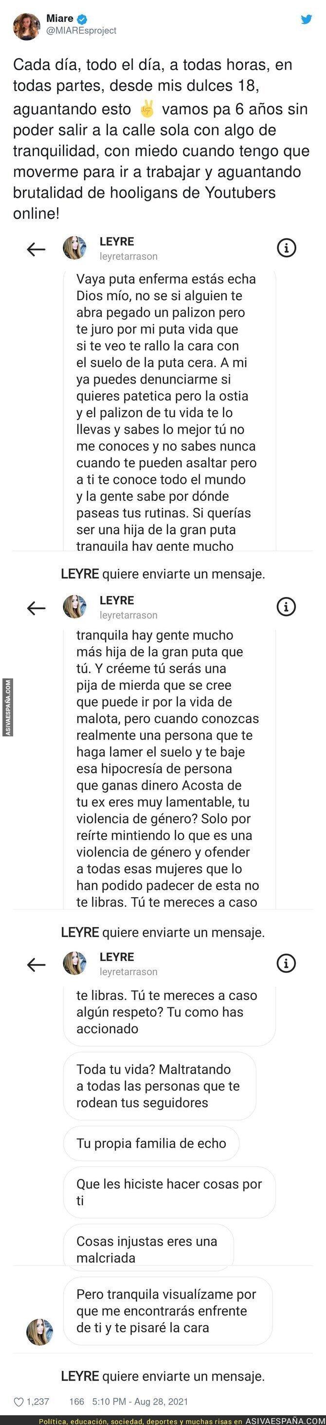 888775 - Las barbaridades que le escriben a la youtuber 'Miare' por Instagram que son totalmente denunciables