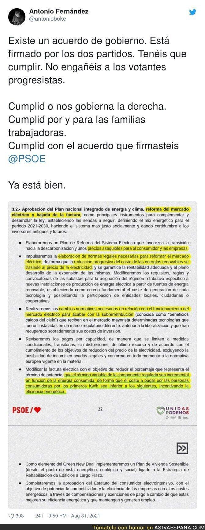 893607 - PSOE basta de bromas y actúa con lo que has firmado