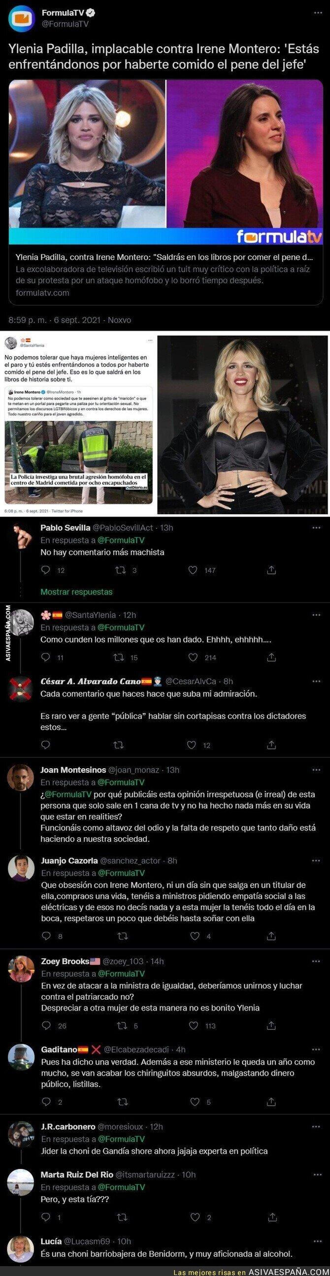 899544 - El polémico mensaje miserable y machista de Ylenia Padilla contra Irene Montero