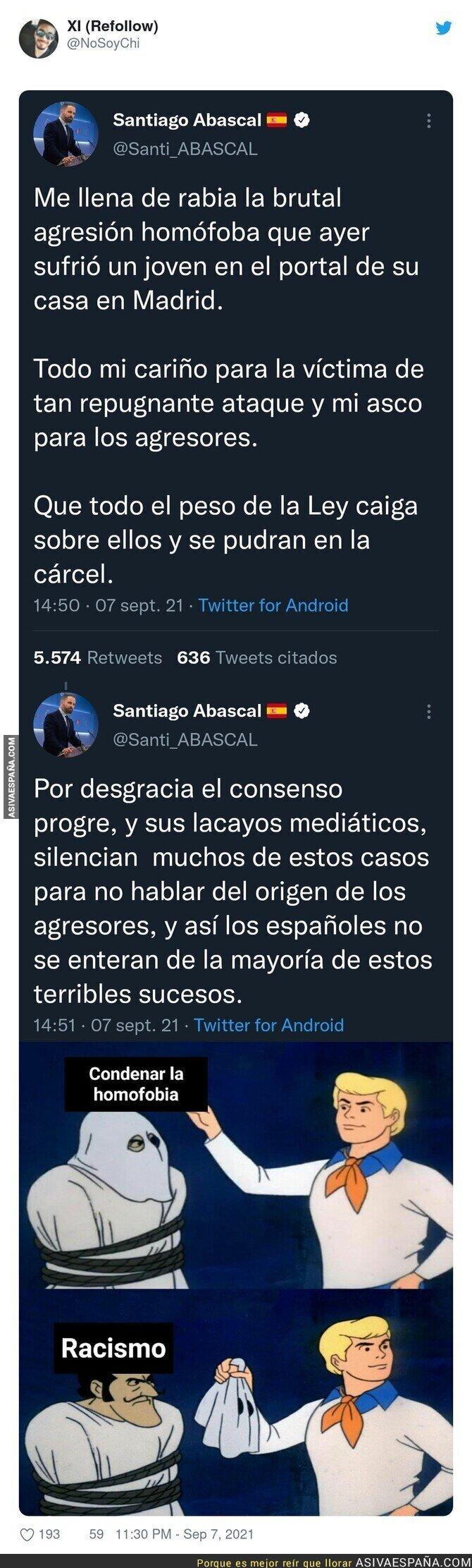900219 - Brutal: Santiago Abascal condena un ataque homofóbico pero demuestra en el siguiente tuit lo racista que es