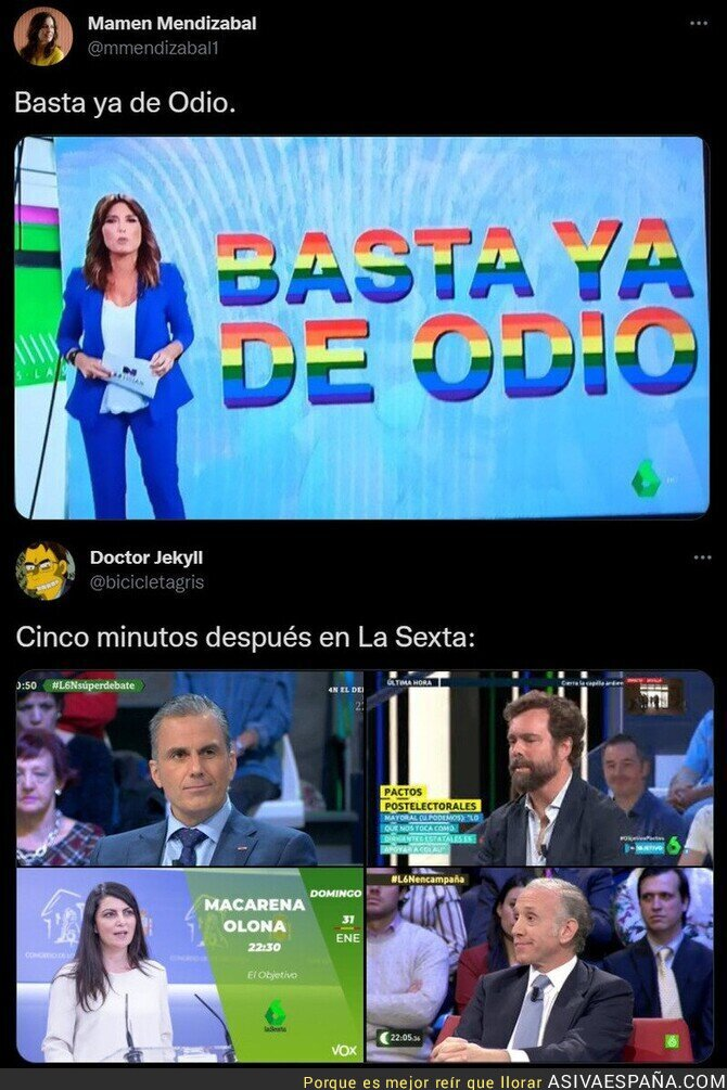 900347 - El doble rasero repugnante de La Sexta por la que queda retratada a diario