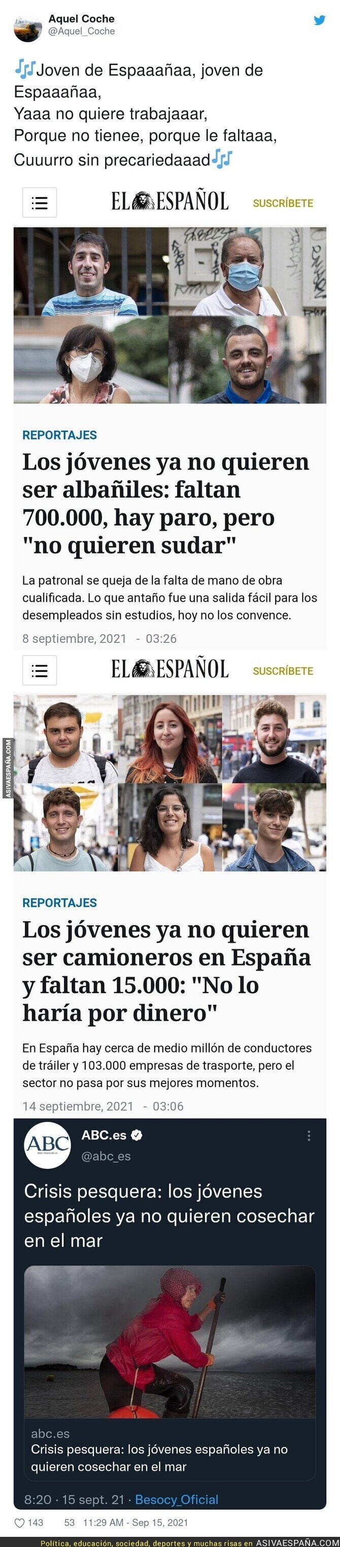 907267 - Tres titulares acerca de los jóvenes que no quieren trabajar que dan vergüenza ajena, por @Aquel_Coche